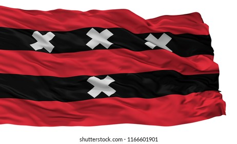 Amstelveen City Flag, Country Netherlands, Isolated On White Background, 3D Rendering