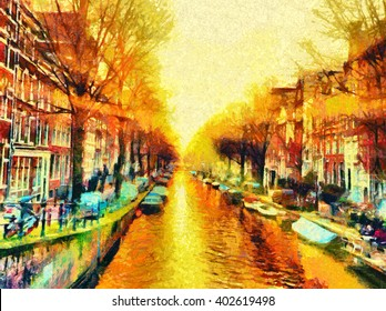 Amsterdam canal cityscape morning sun oil painting