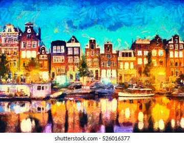 Amsterdam canal houses oil painting