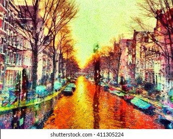 Amsterdam canal through rainy window water drops oil painting