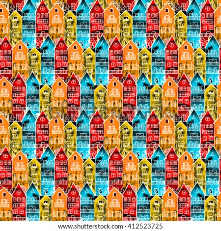 Amsterdam houses canal water watercolor colorful seamless pattern