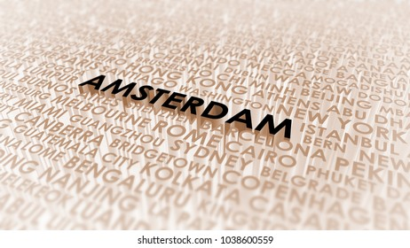 Amsterdam lettering, 3d illustration of world's cities.