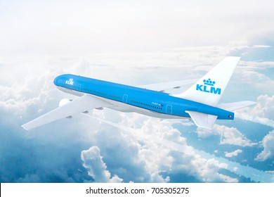 AMSTERDAM, THE NETHERLANDS - AUGUST 17: Aerial view of KLM Royal Dutch Airlines Boeing 777 on approach to runway at Schiphol International airport. 3D Illustration.