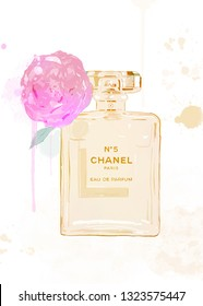 Amsterdam, the Netherlands- january 26, 2018: coco Chanel Number 5 Perfume in glass bottle isolated on white. - illustration