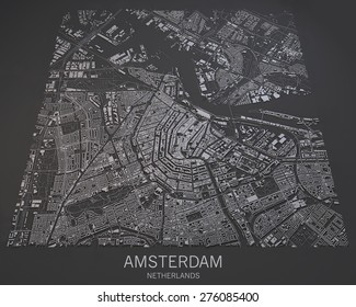 Amsterdam, Netherlands, satellite map view, map in negative, 3d roads and buildings