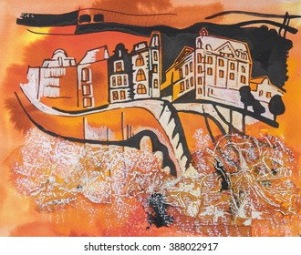 Amsterdam. Painting by ink, coffee, paper collage and tempera
