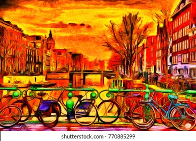 Amsterdam red lights - oil painting