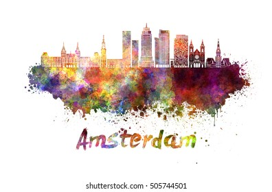 Amsterdam  skyline in watercolor splatters with clipping path