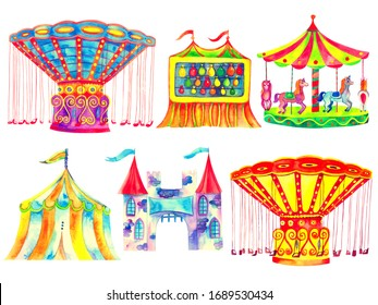 Amusement park bright carousels watercolor collection isolated on white background