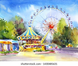 Amusement park, carousel, attraction. Ferris wheel art. Sunny day. Watercolor painting. Cityscape. Urban sketch.