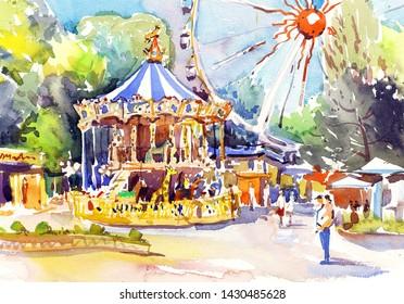 Amusement park, carousel, attraction. Watercolor painting