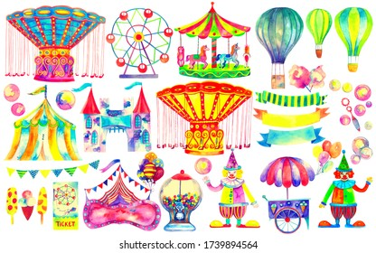 Amusement park hand drawn set. Circus and carnival theme. Ferris wheel, fair ride, carousels, attraction, air balloons, clowns and other colorful watercolor illustration isolated on white background