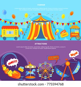 Amusement park horizontal banners website design abstract isolated  illustration