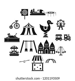 Amusement park icons set in simple style. Attraction park set collection illustration