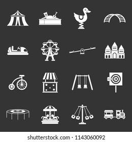 Amusement park icons set white isolated on grey background
