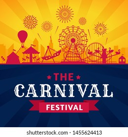 Amusement park poster. Roller coaster, ferris wheel and carnival carousel festive parks attractions. Circus carnival or funfair entertainment invitation banner.  silhouette background