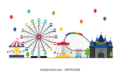 Amusement park. Recreation and entertainment, tents, castle. Balloons in sky, swing banner