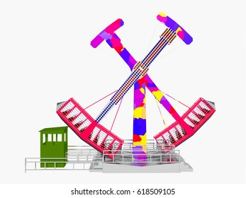 Amusement park ride isolated on white background Computer generated 3D illustration