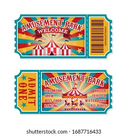 Amusement park ticket. Family park attractions admission tickets, fun festival vintage event receipt. Fair raffle coupons. summer poster for child invitation carousel or theater set