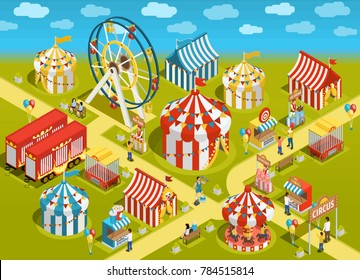 Amusement park travel circus attractions colorful isometric poster with classic striped tents and ferris observation wheel  illustration