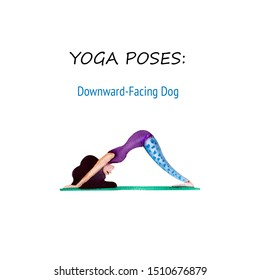 Amusing watercolor woman doing downward-facing dog yoga pose,  isolated on white