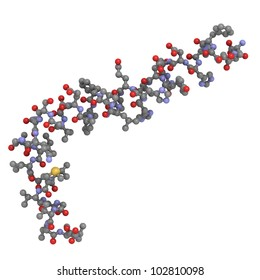 Amyloid beta (abeta 1-42) peptide, which is closely associated with Alzheimer's disease. Abeta is the main component of amyloid plaques. ball-and-stick model, conventional coloring, H atoms omitted