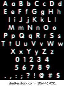 Anaglyph Glitch 3D Movie Font