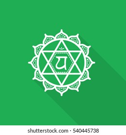 Anahata. Beautiful indian ornamental 7 chakras collection. Color yoga flat icon with long shadow
