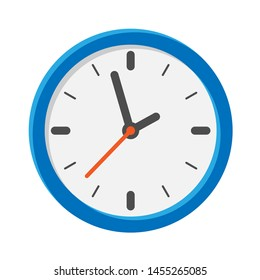 Analog clock flat icon. Symbol of time management, chronometer with hour, minute and second arrow. Simple illustration isolated on white background.