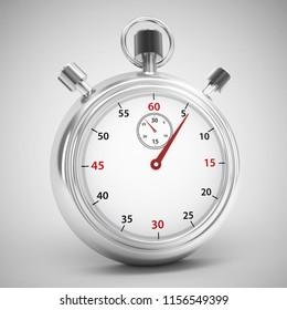 analog stopwatch 3d rendering illustration