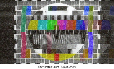 An analogue old CRT TV test card with color bars, full of noise, static, grain, ghosting artifacts.