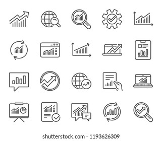 Analysis, Statistics line icons. Set of Charts, Reports and Graphs signs. Data, Presentation and Communication speech bubbles. Global Statistics, hold Document and Checklist. Quality design element