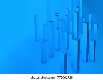 Analytics city. Analytics blue bars