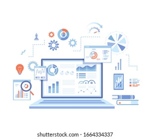 Analytics concept, Analysis, Analyzing, Data processing, Success strategy. Laptop with graphs and charts and Infographic Elements. Raster version.