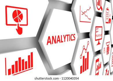ANALYTICS concept cell background 3d illustration