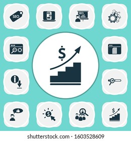 Analytics icons set with download information, pay per click, customers review and other conversation elements. Isolated illustration analytics icons.