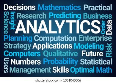 Analytics Word Cloud on Blue Background