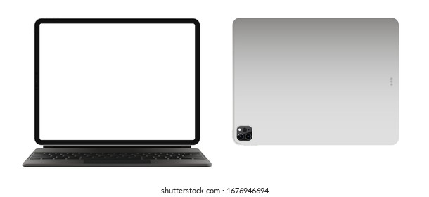 "Anapa, Russian Federation - March 19, 2020: illustration iPad Pro 2020 12,9"" and keyboard by Apple. Front and back side. Gadget mock up with white screen for app, web, presentation, design."