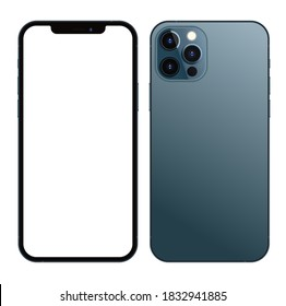Anapa, Russian Federation - October, 13, 2020: New Pacific Blue Color Iphone 12 Pro Max, Front and back side.  Smartphone mock up with white screen. Illustration for app, web, presentation, design.