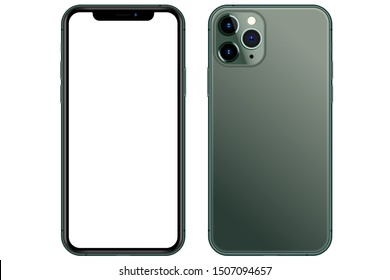 Anapa, Russian Federation - September, 17, 2019: New Midnight Green Iphone 11 Pro, Front and back side.  Smartphone mock up with white screen. Illustration for app, web, presentation, design.