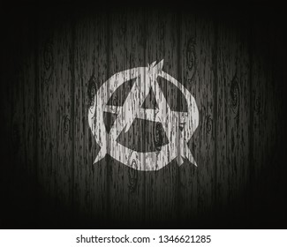Anarchist flag, background of wood, illustration.