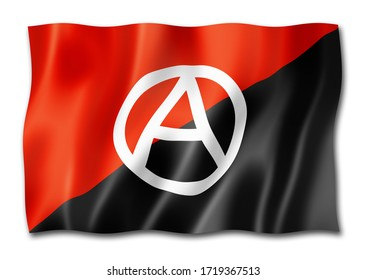 Anarchy flag, three dimensional render,  isolated on white