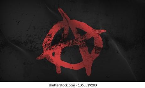 Anarchy Symbol red black grunge flag waving loop. Anarchy Symbol red on black dirty flag blowing on wind.