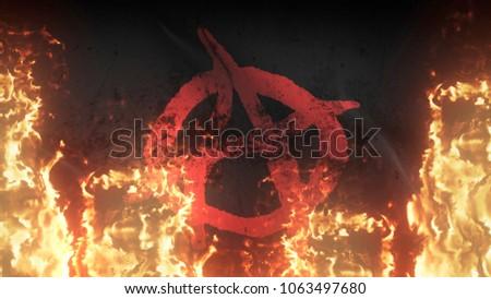 Anarchy Symbol Red Black Grunge War Stock Illustration 1063497680