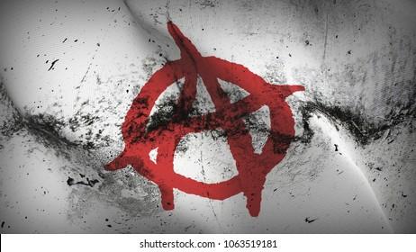 Anarchy Symbol red white grunge flag waving loop.Anarchy Symbol red on white dirty flag blowing on wind.