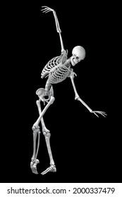 Anatomy of dancing and ballet, 3D illustration showing skeletal activity in ballet dancing