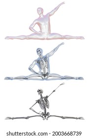Anatomy of dancing and ballet, 3D illustration. A man in ballet pose with highlighted skeleton and isolated skeleton showing skeletal activity in ballet dancing
