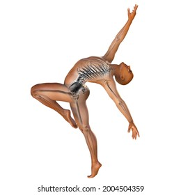 Anatomy of dancing and ballet, 3D illustration. A man in ballet pose with highlighted skeleton showing skeletal activity in ballet dancing isolated on white background