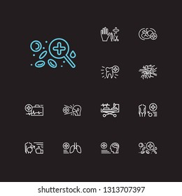 Anatomy icons set. Angiology and anatomy icons with dentistry, gynaecology and emergency medicine. Set of organism for web app logo UI design.