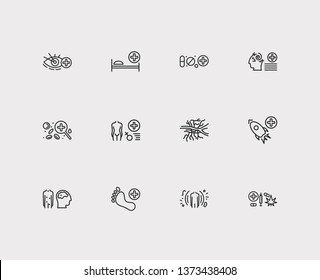 Anatomy icons set. Angiology and anatomy icons with immunology, ophthalmology and space medicine. Set of person for web app logo UI design.